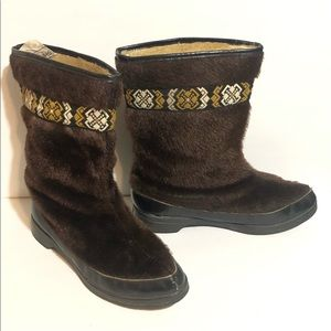 Vintage Stowe Sherpa Lined Faux Fur Snow Boots